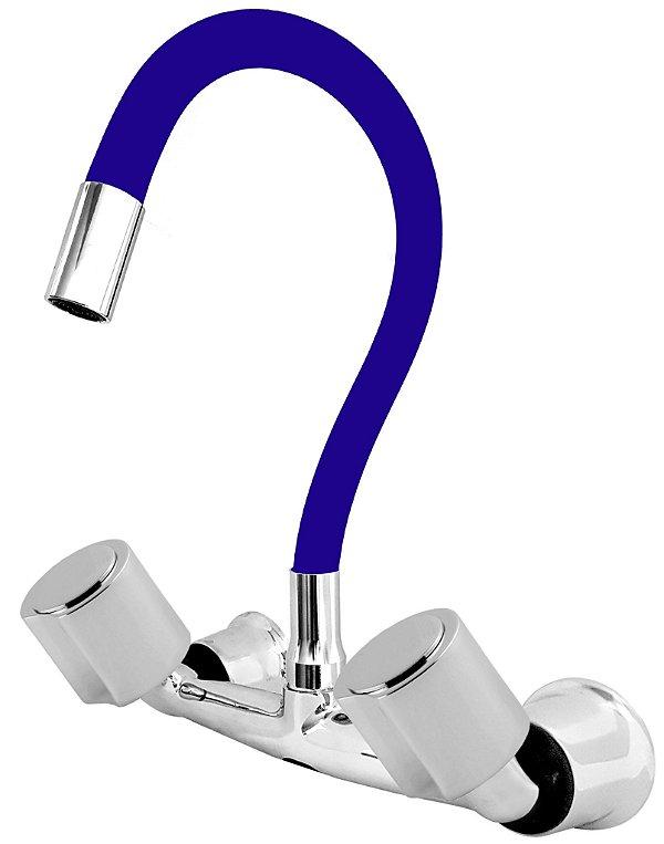 Misturador P/ Cozinha de Parede Gourmet Azul Flexível 1/4 de Volta C40