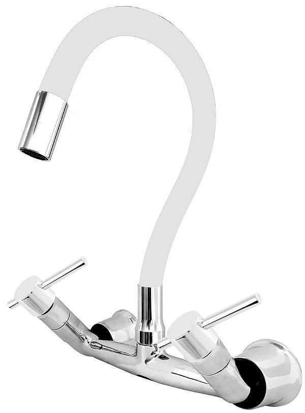 Misturador P/ Cozinha de Parede Gourmet Branco Flexível 1/4 de Volta C66