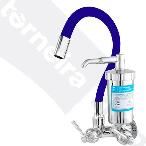 Torneira Filtro Gourmet Color Azul Parede 1/4 Volta Bica Flexível C80