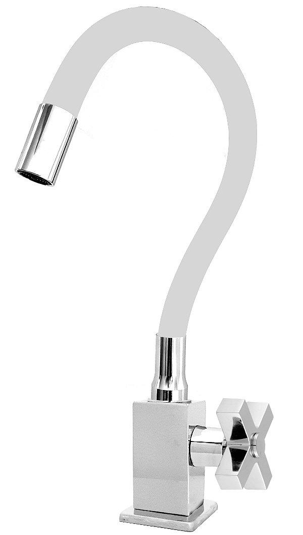 Torneira Quadrada Mesa Gourmet Colorida Branco / Cromado 1/4V C44