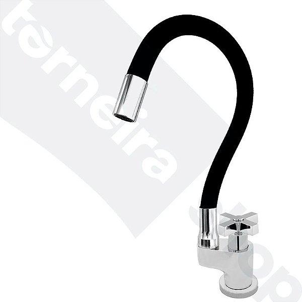 Torneira Gourmet Color Flex de Bancada Bica Móvel Lateral 1/4V Preto C44
