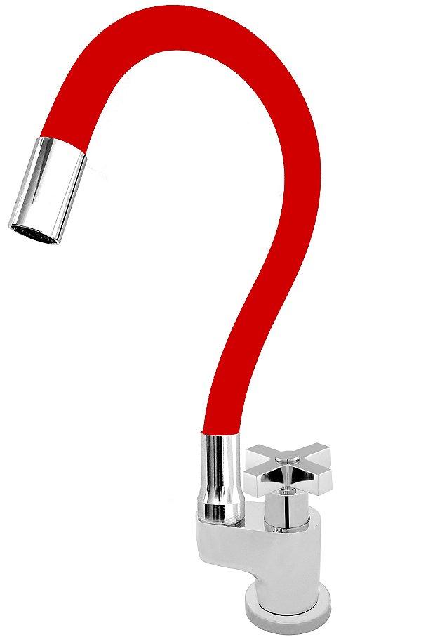 Torneira Gourmet Color Flex de Bancada Bica Móvel Lateral 1/4V Vermelho C44