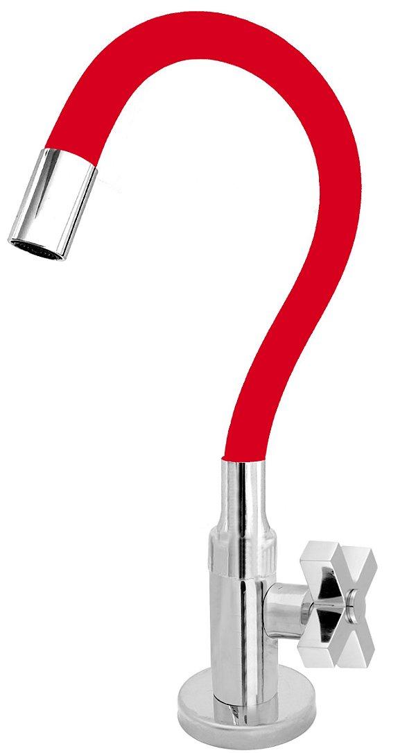 Torneira Cozinha Mesa Flexível Color Vermelho 1/4 de Volta C44
