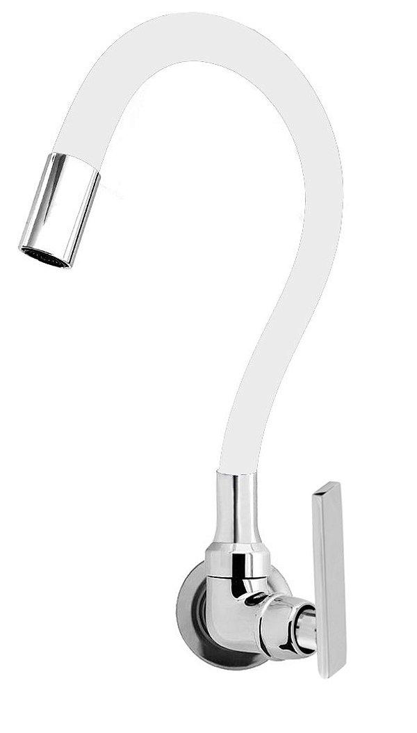Torneira Cozinha Parede Gourmet Color Flexível 1/4 Volta Branco C79