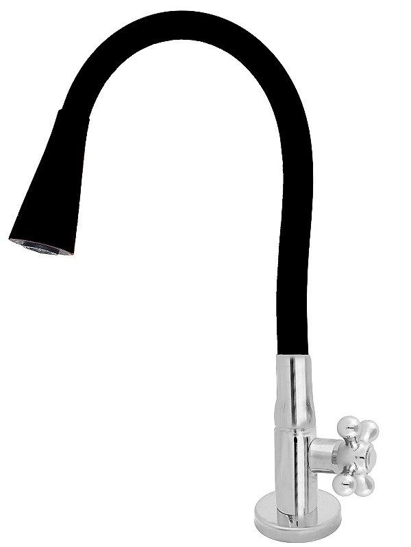 Torneira Mesa Gourmet Design Preto Jato Duplo Bica Flexível 1/4 Volta C52