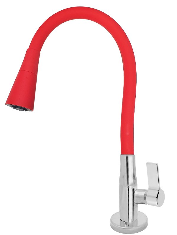 Torneira Mesa Gourmet Design Vermelho Jato Duplo Bica Flexível 1/4 Volta C77