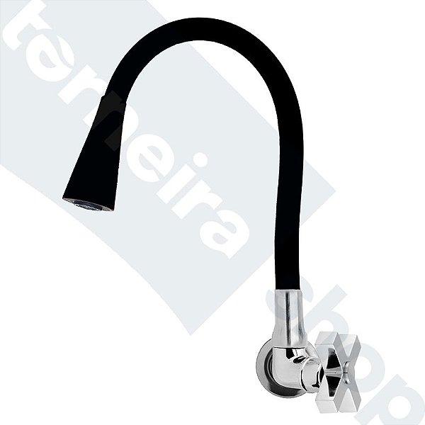 Torneira Parede Gourmet Design Preto Jato Duplo Bica Flexível C44