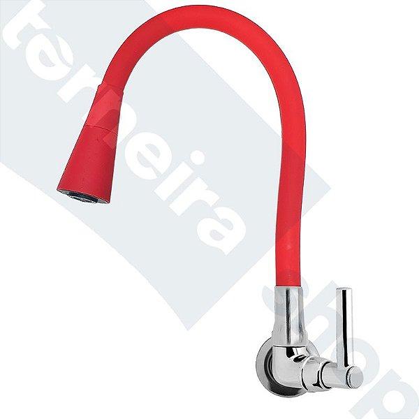 Torneira Parede Gourmet Design Vermelho Jato Duplo Bica Flexível C11