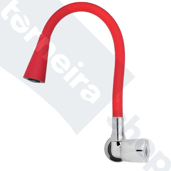 Torneira Parede Gourmet Design Vermelho Jato Duplo Bica Flexível C50