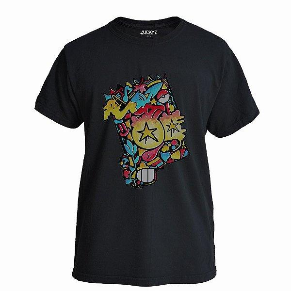 Camiseta Lucky Seven Preta - Graffiti Bart
