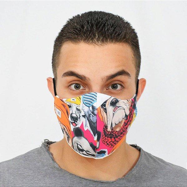 Máscara de Proteção Algodão - Estampa Pug