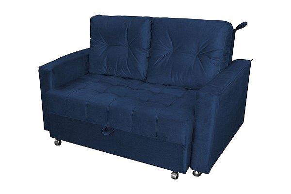 Sofá Cama Casal Reclinável Drika - Veludo Azul marinho