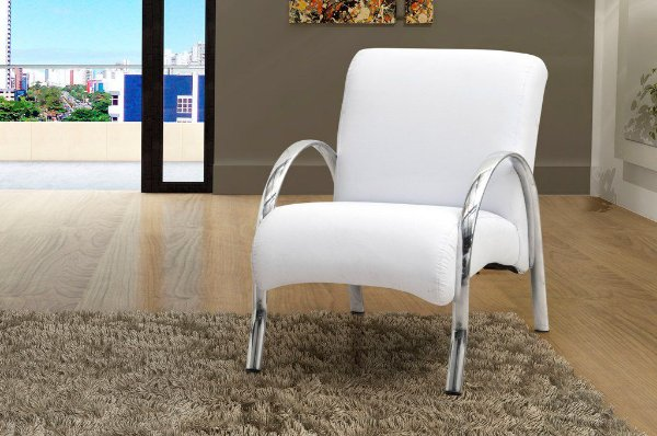 Poltrona Decorativa Polly 1 Lugar - Branco corino
