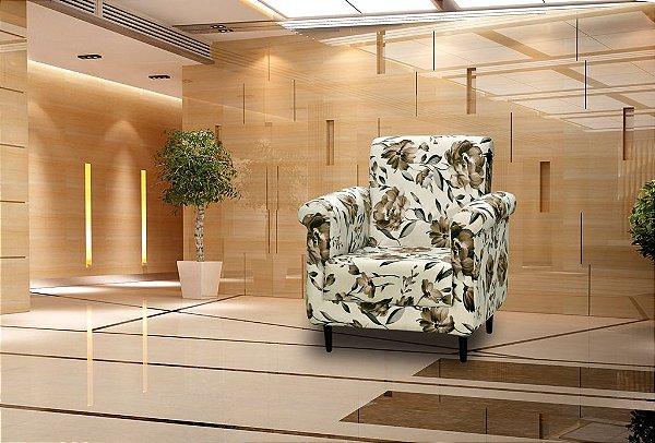 Poltrona Decorativa Betina - Floral marrom
