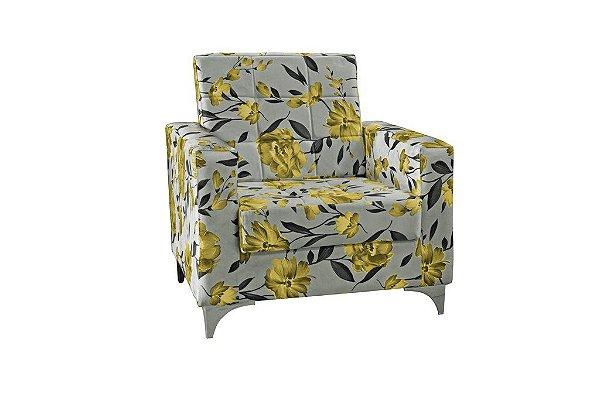 Poltrona Decorativa Taina - Floral amarelo