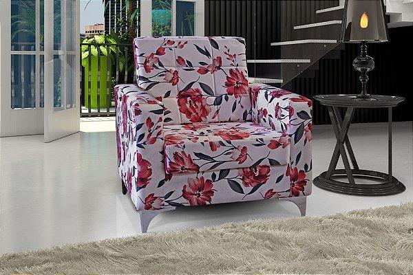 Poltrona Decorativa Taina - Floral vermelho