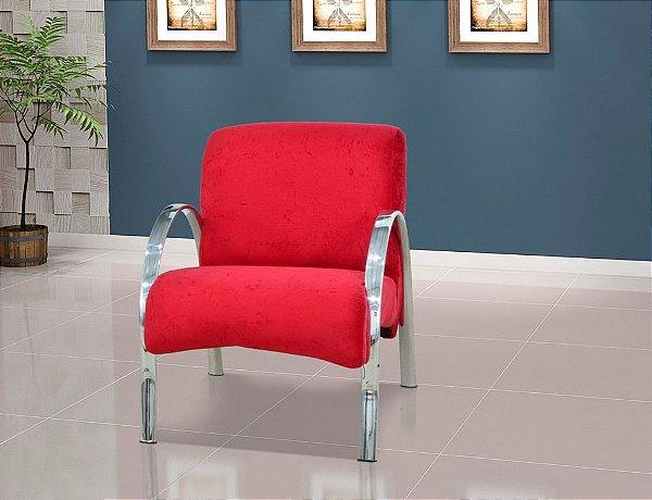 Poltrona Decorativa Polly 1 Lugar - Vermelho suede amassado