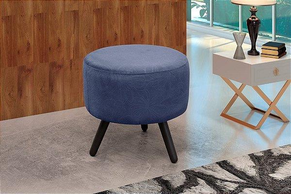 Puff Decorativo redondo pés palito Alegria - Flor azul