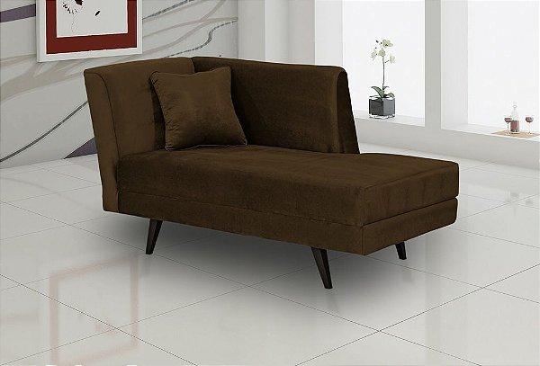Chaise com almofada Nina -  Marrom escuro