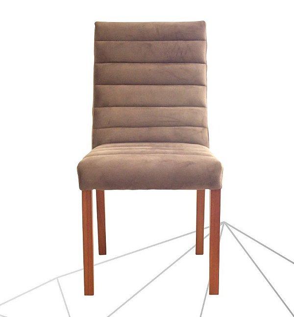 Cadeira Estofada Omega Madeira Maciça 6 Peças Amendoa-Marrom
