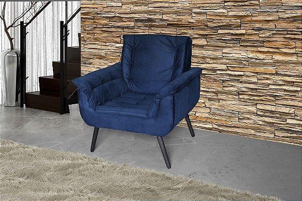 Poltrona Decorativa Pés Palito 1 lugar Monica - Azul