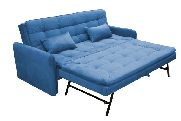 Sofá Cama Reclinável com cama Auxiliar Madalena - Azul pena