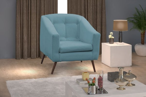 Poltrona Decorativa Angelica Pés Palito - Azul pena