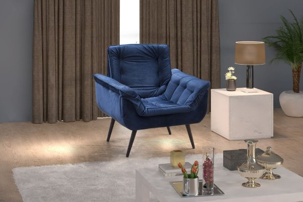 Poltrona Decorativa Pés Palito 1 lugar Monica - Veludo Azul Marinho