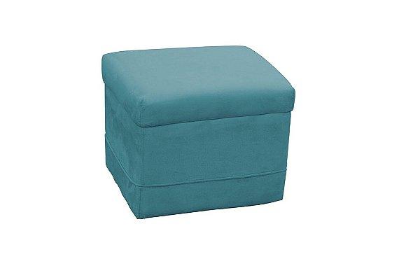 Puff Decorativo quadrado Carinho - Azul pena