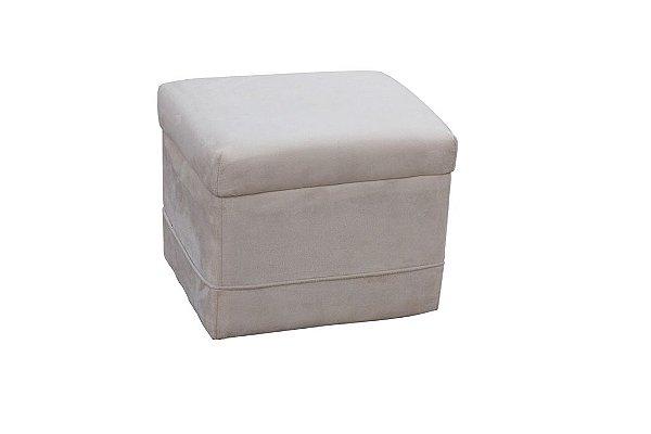Puff Decorativo quadrado Carinho - Bege pena