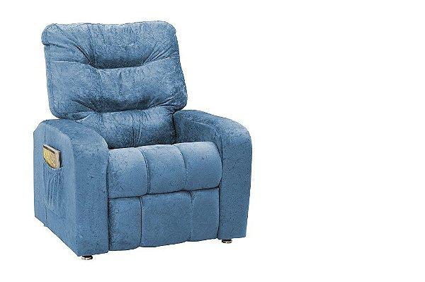Poltrona Matrix Reclinável Azera - Azul suede amassado