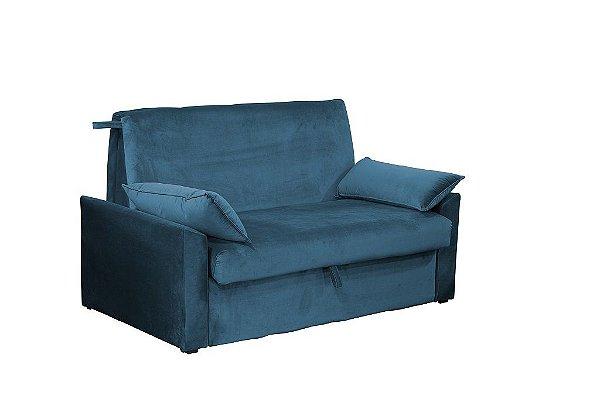 Sofá Cama com Baú Cristal - Veludo Azul