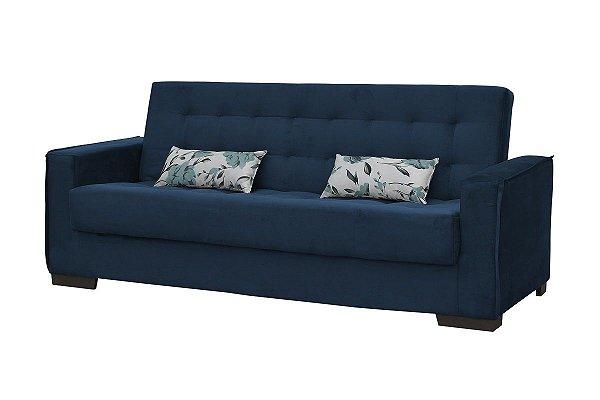 Sofá Cama Dinorá 3 Lugares - Azul light com almofada 422