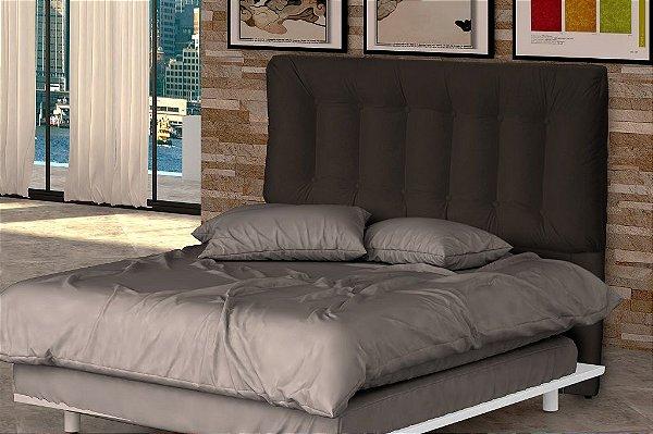 Cabeceira Cama Casal Conforto 160 cm - Marrom escuro pena