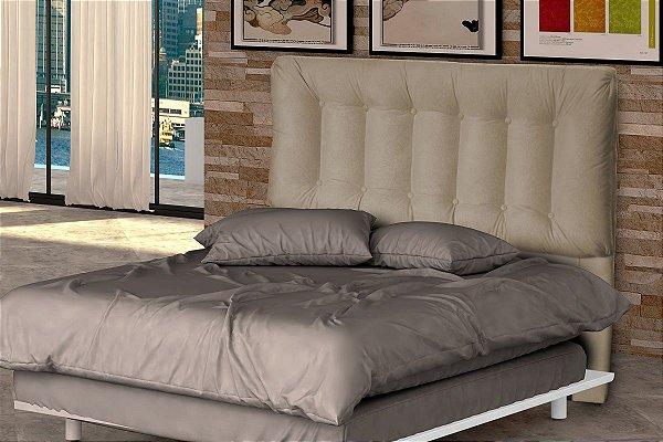Cabeceira Cama Casal Conforto 140 cm - Marrom dourado pena