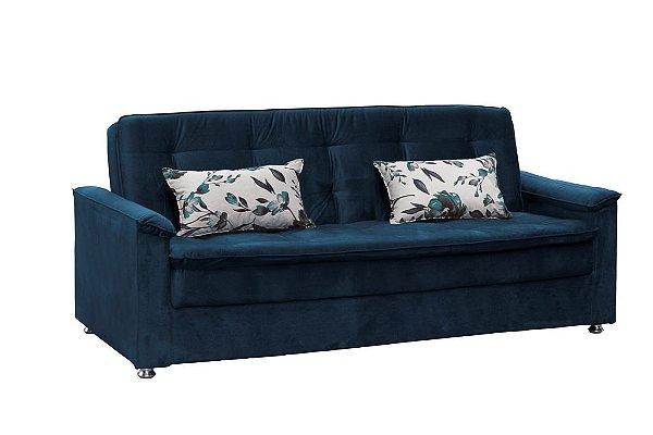 Sofá Cama Casal Reclinável Nanda - Veludo Azul marinho com almofada 422