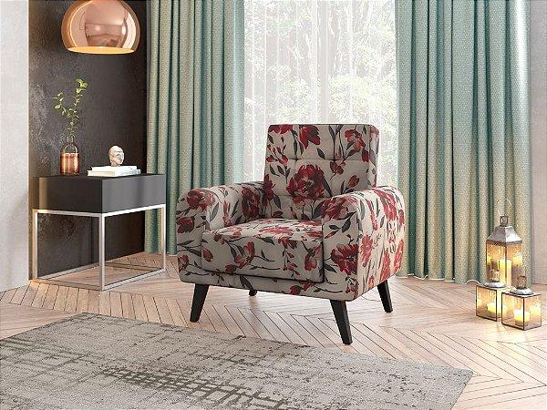 Poltrona Decorativa Pés de Madeira Livia  - Floral vermelho