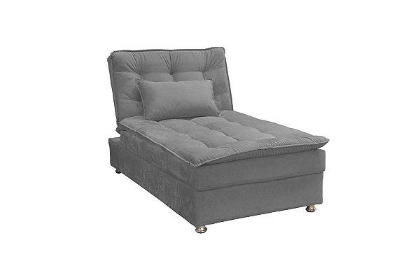 Sofá Cama Chaise 1 Lugar Penelope - Veludo Chumbo