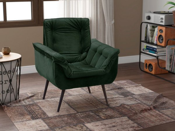 Poltrona Decorativa Pés Palito 1 lugar Monica - Veludo Verde