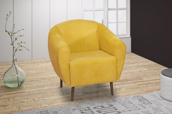 Poltrona Decorativa Pés Palito 1L Jenifer - Amarelo light