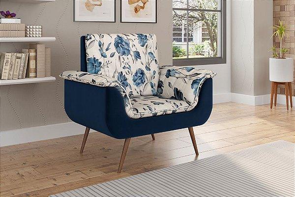 Poltrona Decorativa Pés Palito 1 lugar Monica - Veludo Azul Marinho FL azul