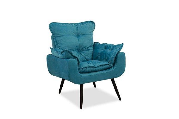 Poltrona Decorativa Pés Palito 1 lugar Ana Julia - Azul royal suede