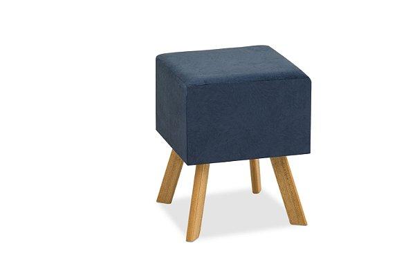 Puff Decorativo quadrado Bruna - Azul royal suede