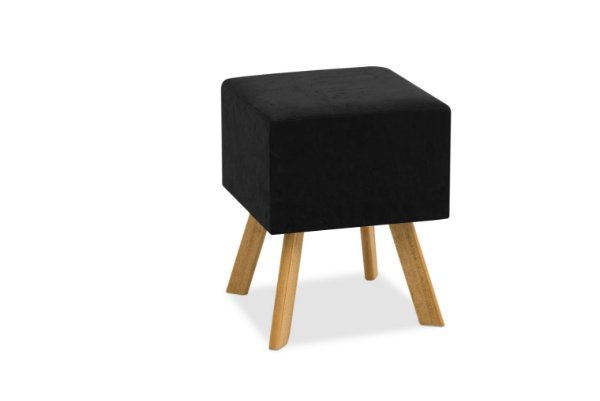 Puff Decorativo quadrado Bruna - Preto suede