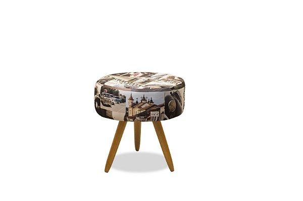 Puff Decorativo pés palito Florença - Estampado 107