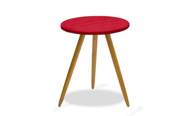 Mesa canto pés palito Leticia - Vermelho suede