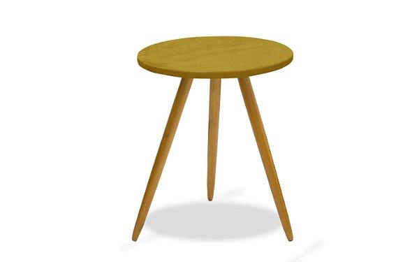 Mesa canto pés palito Leticia - Amarelo suede