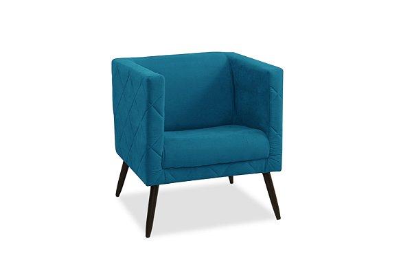 Poltrona Decorativa Pés Palito 1 lugar Maisa - Azul royal suede