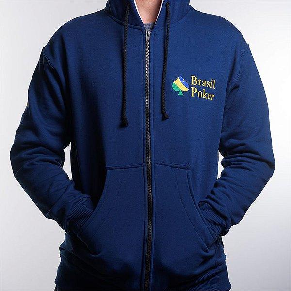 Casaco de Moletom Brasil Poker - Azul com detalhe em branco