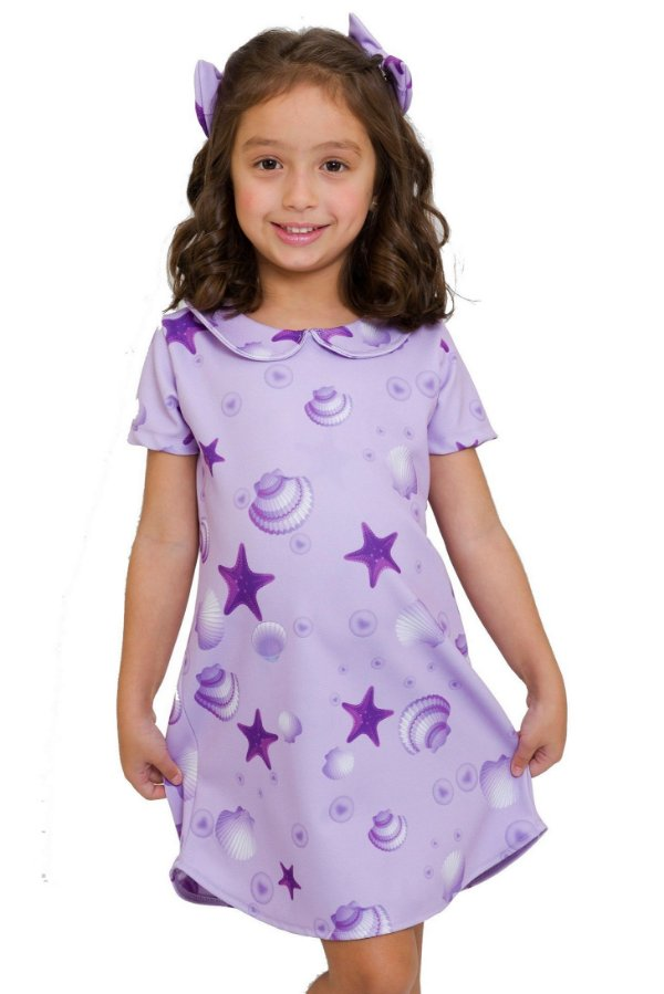 Vestido Infantil Gola Peter Pan Fundo do Mar Roxo
